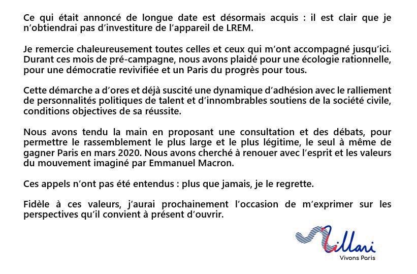 Cédric Villani s'exprime après les résultats de la commission d'investiture LREM.