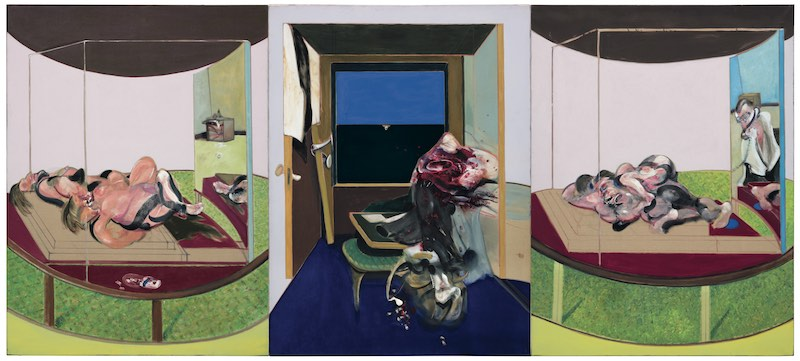 Triptych inspired by T.S. Eliot's poem, Sweeney Agoniste 1969, oil and pastel on canvas, 198x147,5 cm, Hirschorn Musuem ©The Estate of Francis Bacon