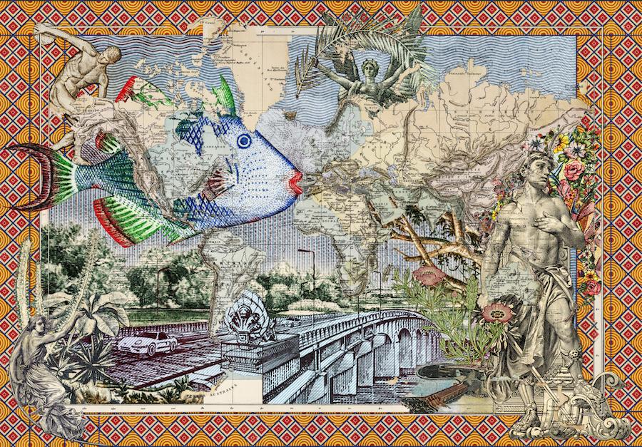 Malala Andrialavidrazana Figures 1886, Voyage Autour du Monde, 2018, 110x58cm © M. Andrialavidrazana / Galerie Caroline Smulders