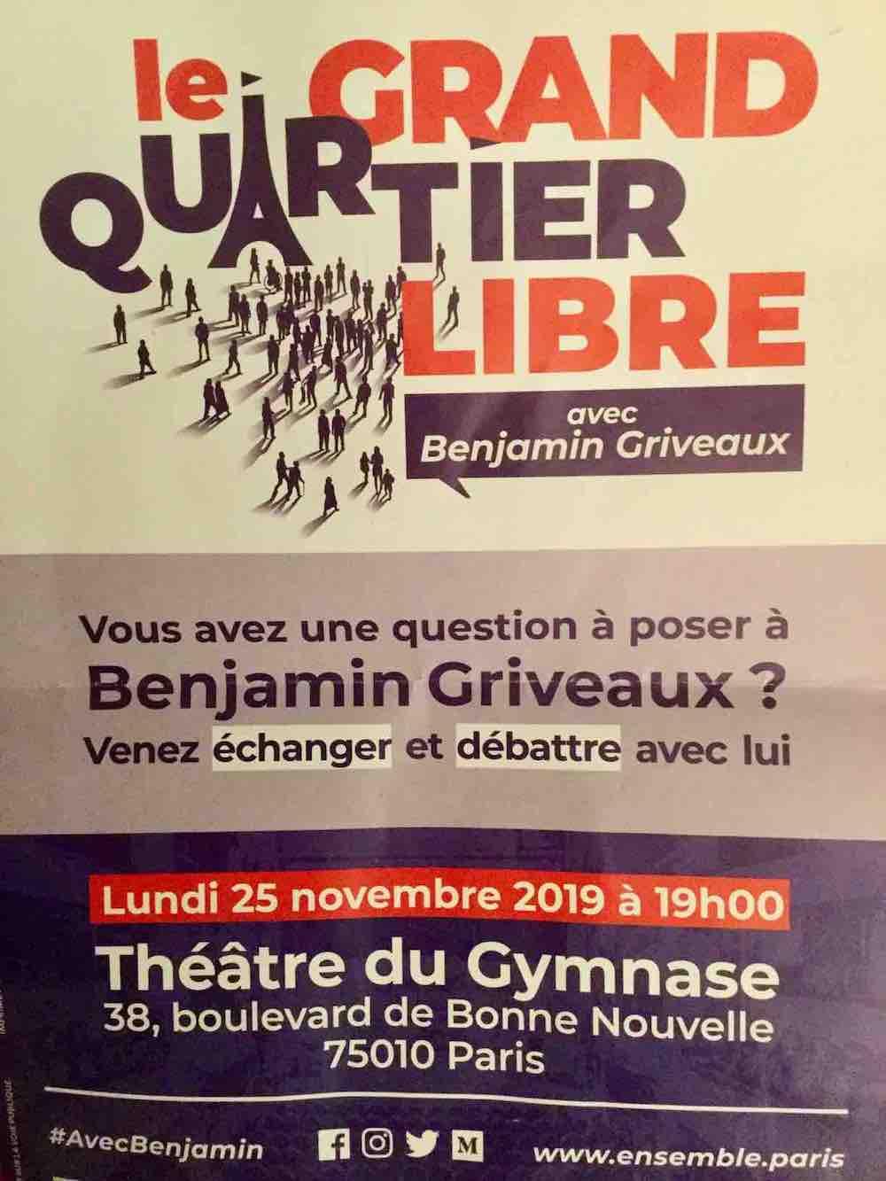 Le tract distribué lors de la brocante dans le 3e arrondissement le week-end précédent le meeting.