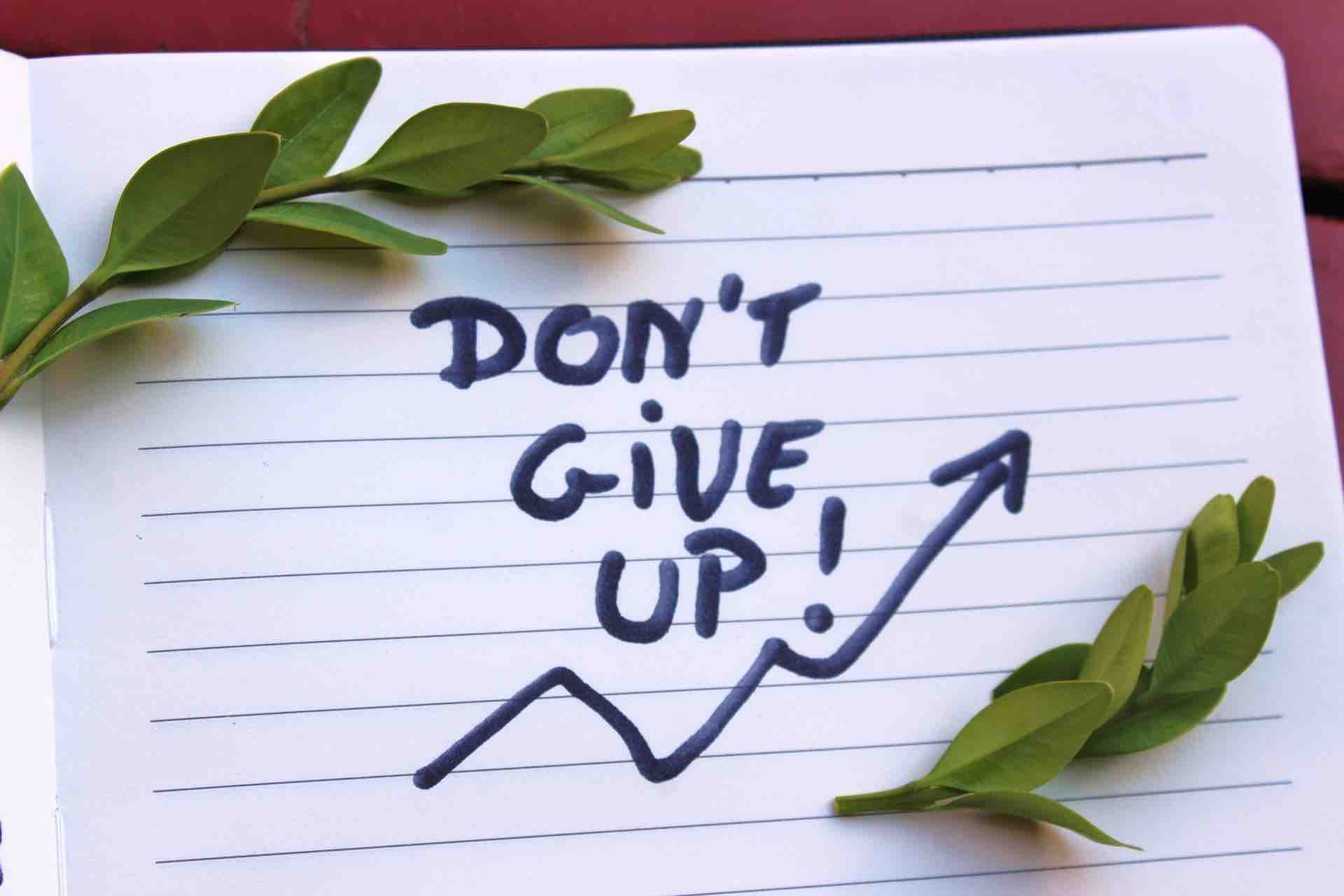"""Don't give up* : """"Ne renonce pas, ne baisse pas les bras !"""" © DR"""