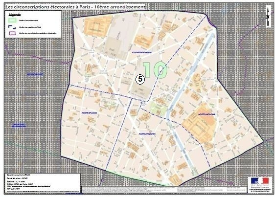 La 5e circonscription dans le 10e arrondissement  (c) Ministère de l'Intérieur.