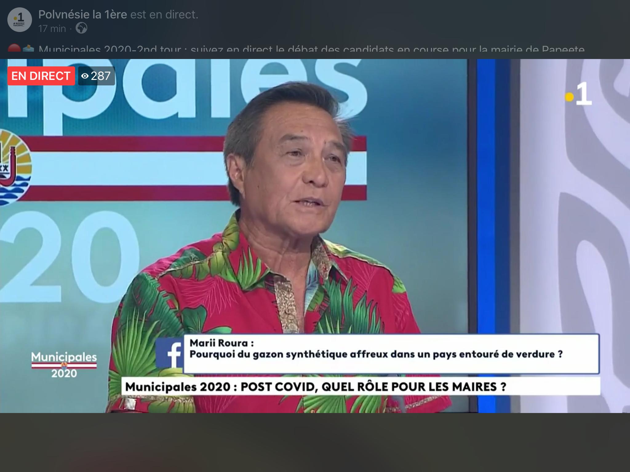 question via Facebook lors du débat télévisé avant le 2e tour des municipales à Papeete le lundi 22 juin @ capture d'écran Polynésiela1ère.