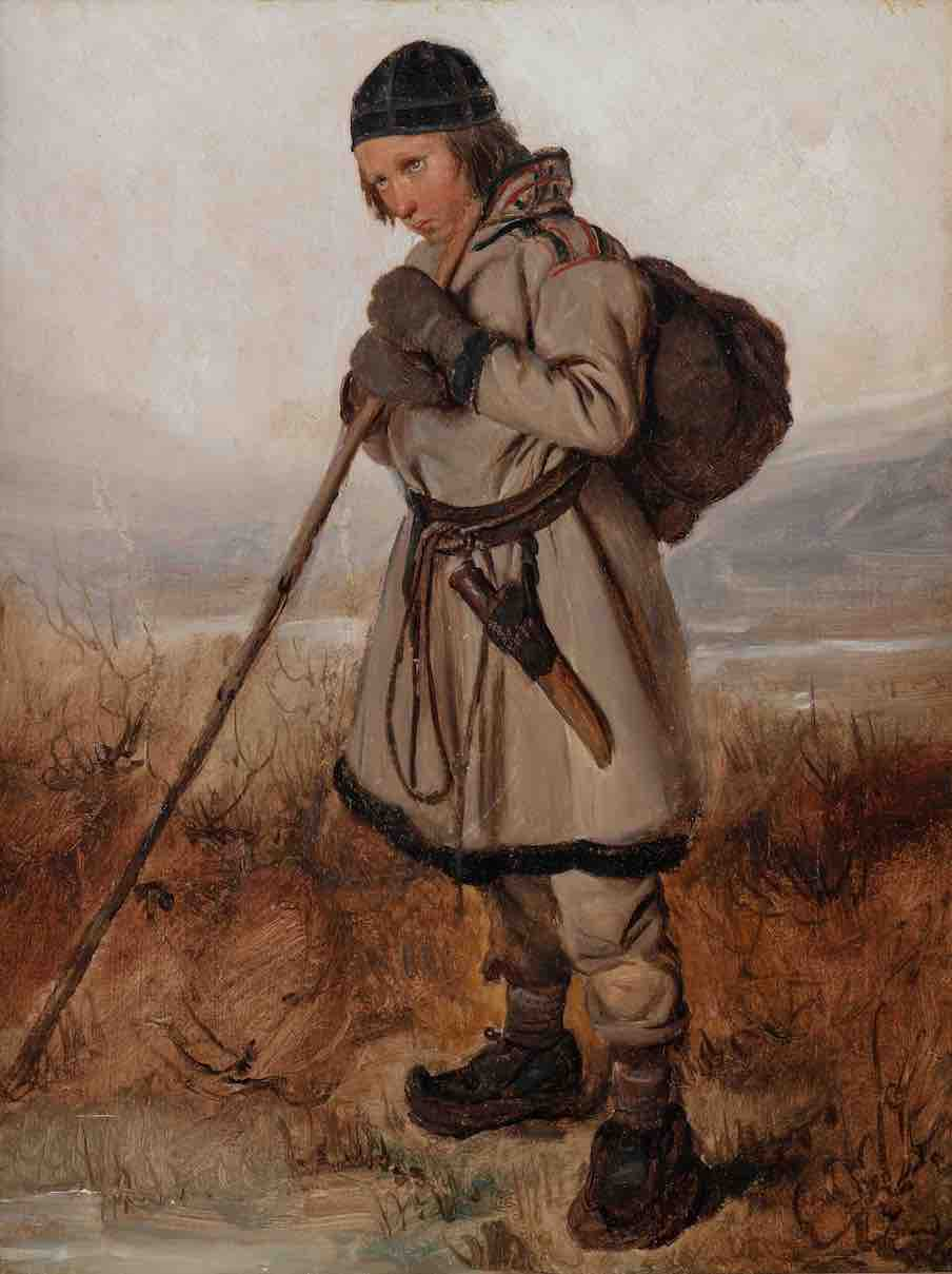 Biard, Young Sami resting on a walking stick, 1839©private collection, Photo Art Go