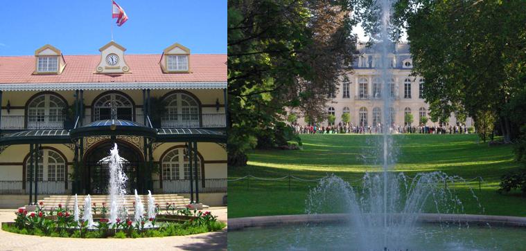 A gauche : présidence de la Polynésie française - à droite : présidence de la France (l'Elysée) - Photos : Wikipedia.