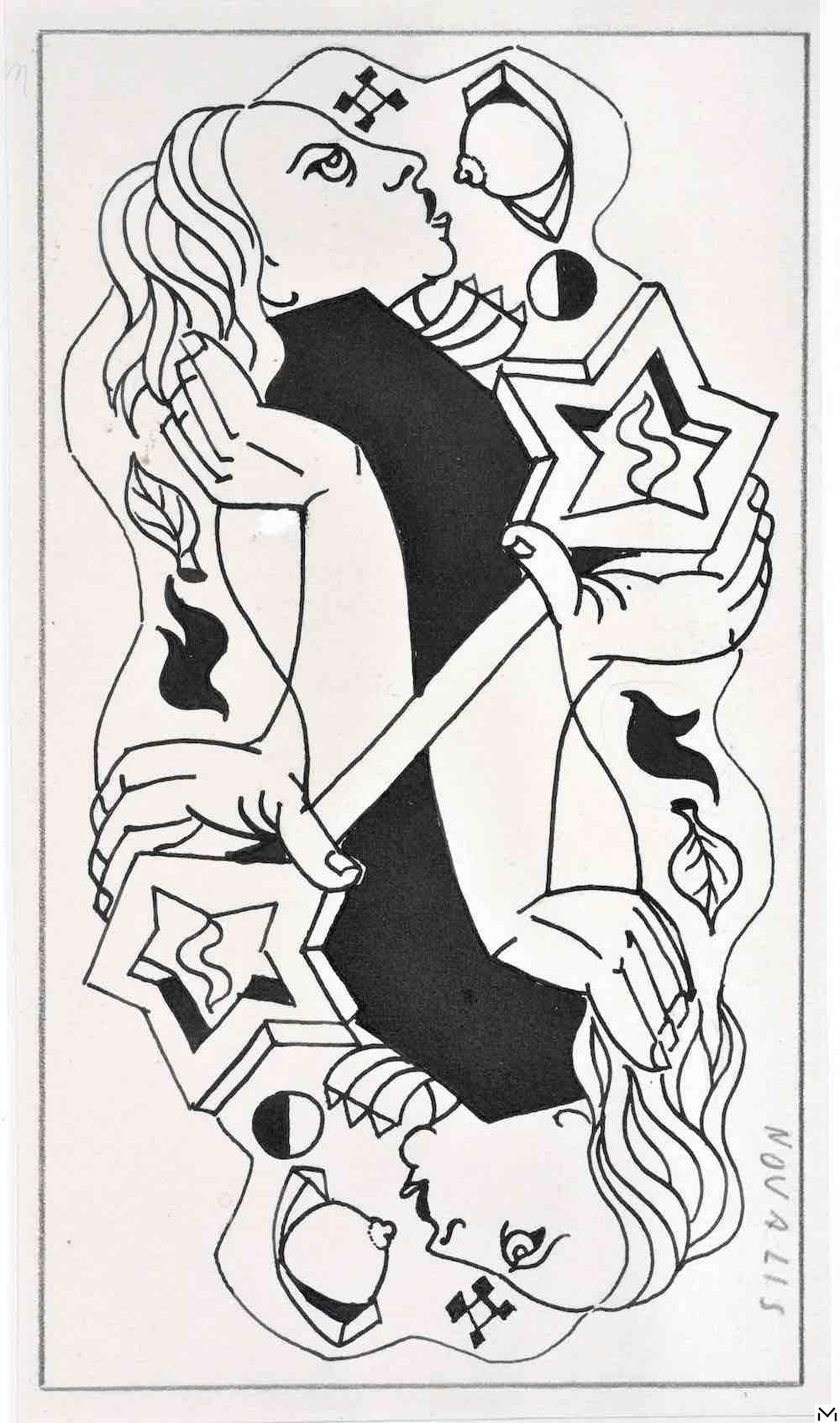 André Masson, gouache 27,9x16,7cm, March 1941, Marseille, Novalis, Mage d'Amour, coll. Musée Cantini, Marseille © ADAGP, Paris, 2020, Photo Ville de Marseille, distribution RMN Paris, Jean Bernard
