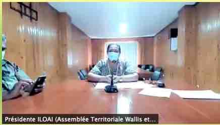 Nivaleta ILOAI, présidente de l'assemblée territoriale de Wallis et Futuna - « Colloque océanien : Gestion de la crise sanitaire liée au Covid-19 en Nouvelle-Calédonie, en Polynésie française et à Wallis et Futuna » en direct sur Zoom de Mata Utu le 30 mars 2021 à 8h15 - Capture d'écran.