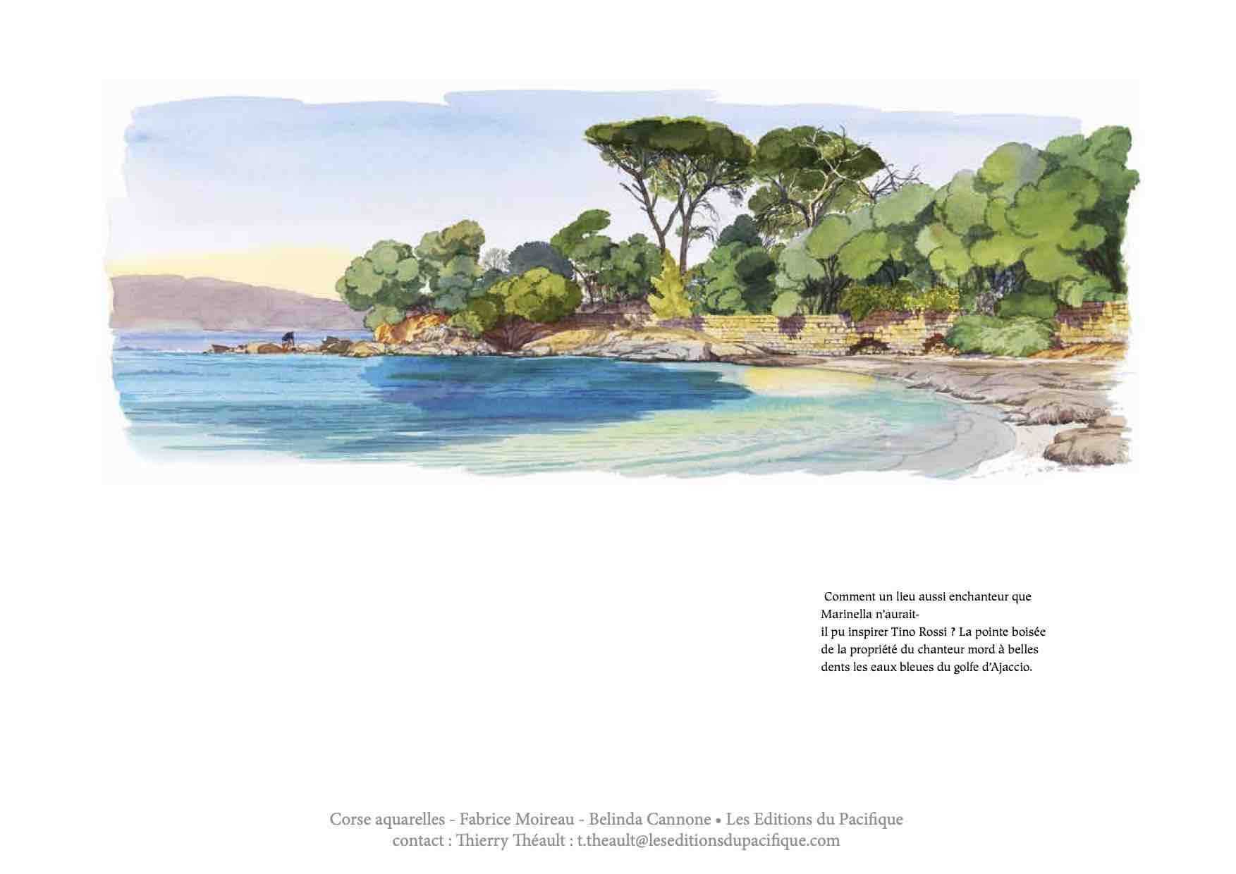 Page of book with beach adjoining Tino Rossi's property, watercolour by Fabrice Moireau, and text by Belinda Cannone ©Les Editions du Pacifique