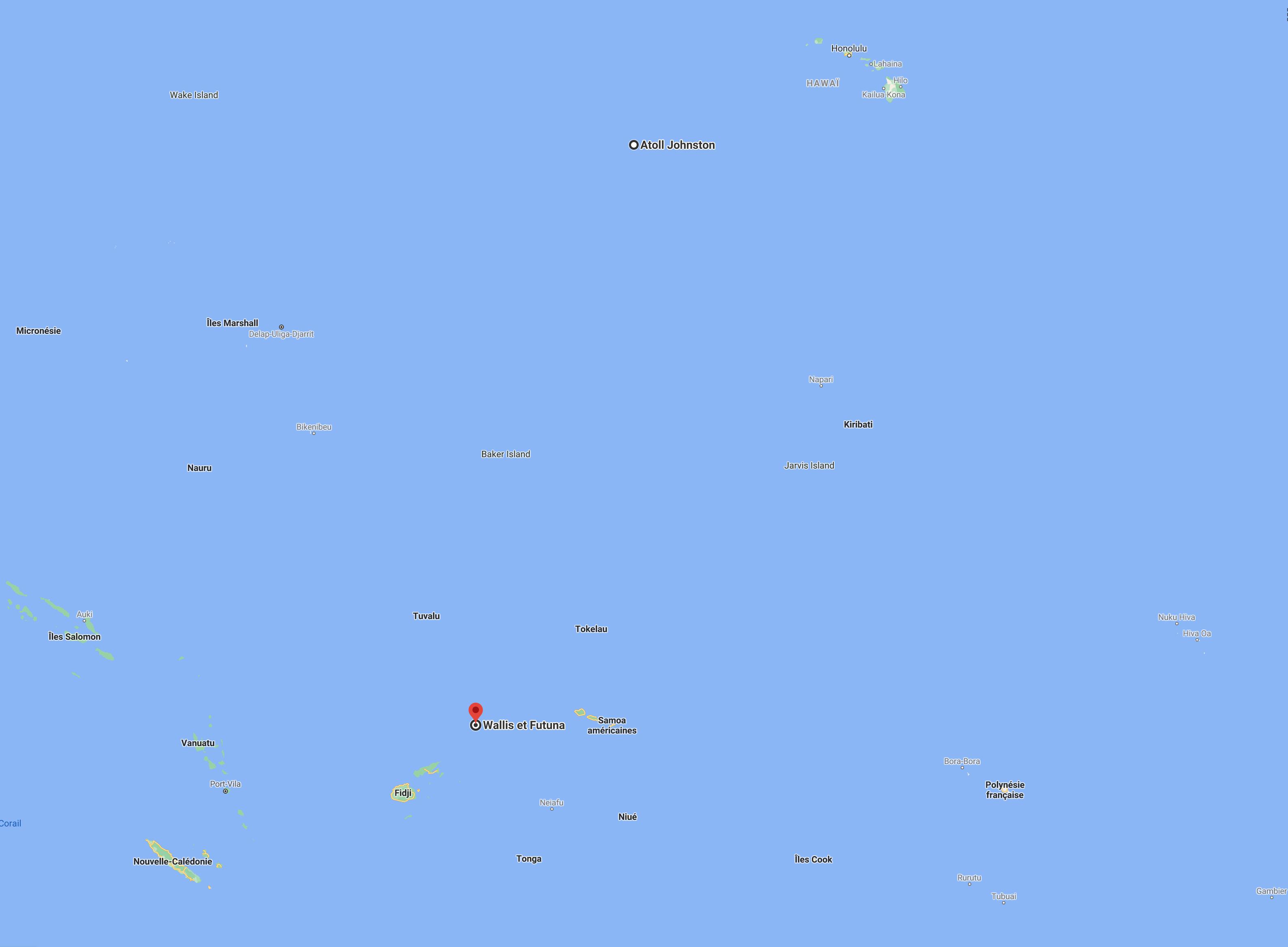 Essais nucléaires américains en Océanie : distance atoll Johnston et les autres îles du Pacifique Sud - capture d'écran Google.
