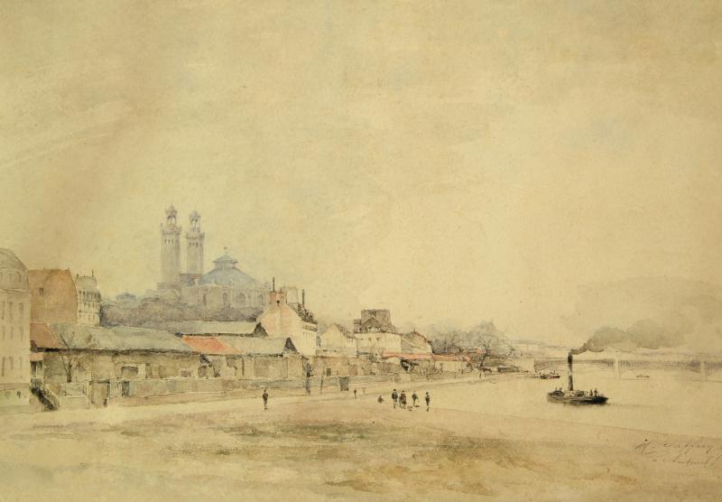 Ancien Palais de Chaillot vue d'Auteuil : Aquarelle d'Henri Saffrey de 1885, 27 x 38 cm Estimation 120 - 150 € - Crédit photo : Maître Le Calvez et Ass. à Auvers sur Oise (95).