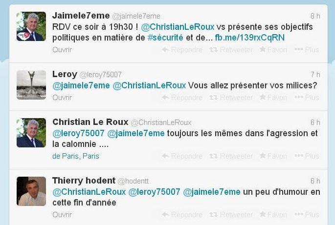 Echanges sur Twitter le 3 décembre 2013 (c) capture d'écran