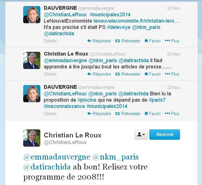 Echanges sur Twitter le 23 novembre 2013 (c) capture d'écran