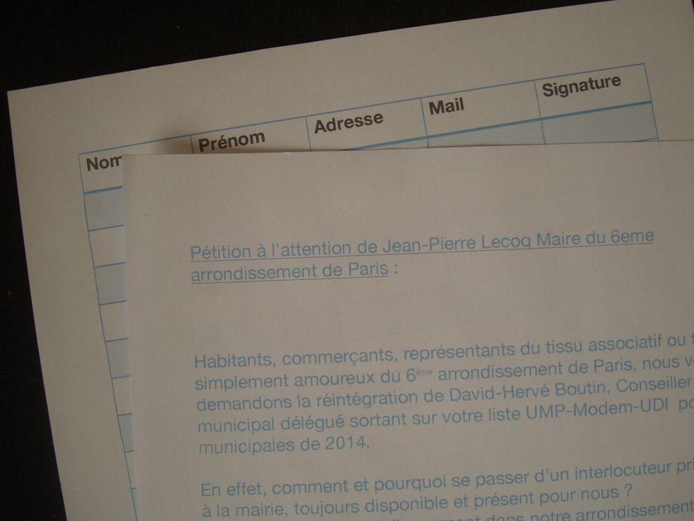 Pétition pour David-Hervé Boutin dans le 6e arrondissement