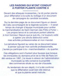 Extrait du tract de la liste UMP - Modem - UDI avec NKM dans le 6e arrondissement.