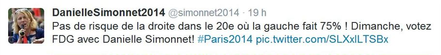 Tweet de Danielle Simonnet publié le 28 mars 2014 à 18h30.