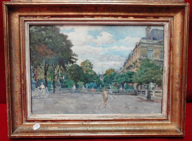 Lot 158 paire aquarelle fin XIXe éc fr Jardin du Luxembourg et Sénat © Maître Bernard Galateau.