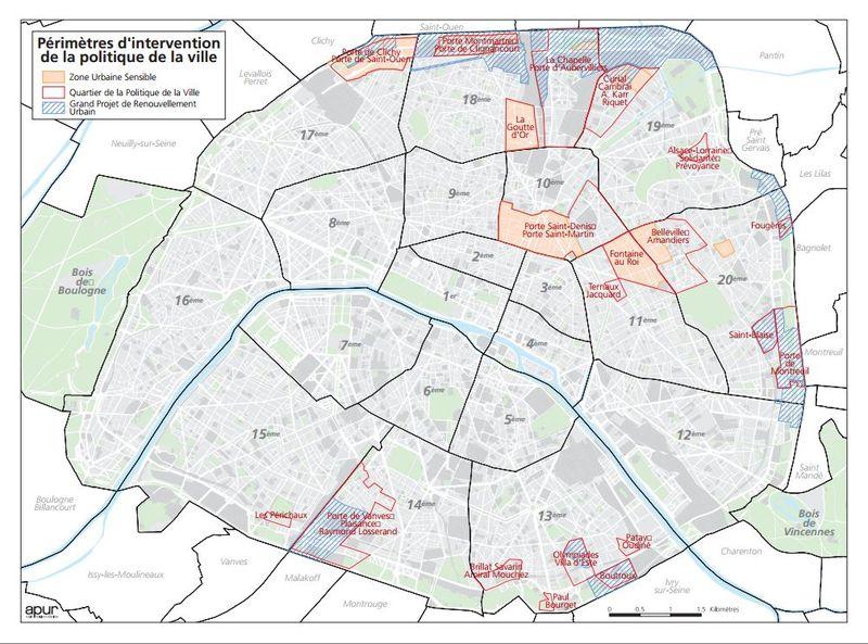 """Carte de Paris sur Paris. fr : """"Retrouvez les périmètres d'intervention de la ville de Paris : Zones Urbaines Sensibles (ZUS), Quartiers de la Politique de la Ville (QPV) et Grand Projet de Renouvellement Urbain (GPRU)"""" © APUR - Paris.fr"""