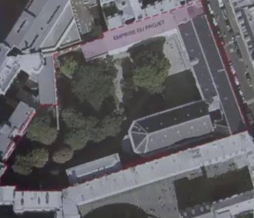 Vue aérienne de l'emprise des travaux © Extrait de la plaquette de présentation du chantier de la Maison Saint Louis - Diocèse des Armées.
