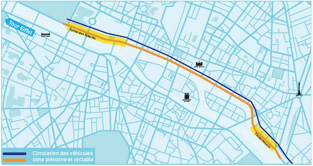 Le projet retenu par la Mairie de Paris : un linéaire piétonnier de 3,3km, du tunnel des Tuileries jusqu'au port de l'Arsenal © Mairie de Paris.