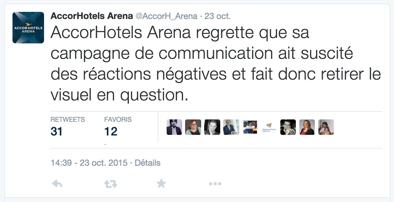 @AccorH_Arena sur Twitter © capture d'écran.