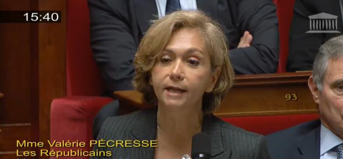 Valérie Pécresse pose une question au gouvernement sur l'un de ses thèmes de campagne aux régionales ©  capture d'écran Assemblée nationale.