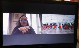 Christelle Lehartel ouvre en direct depuis les bureaux de la Délégation de la Polynésie française à Paris sa 1ère édition d'action de formation à destination des futurs étudiants Tahitiens en France © Bureau de la communication.