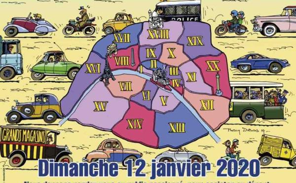 Grand défilé de voitures d'époque à Paris