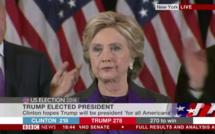 Donald Trump Président : l'ouverture d'esprit doit permettre à l'Amérique de rester unie selon Hillary Clinton