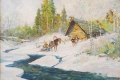 Lot 180 - Paysage de neige au traineau par  K. Korovine Etude E. Aubert