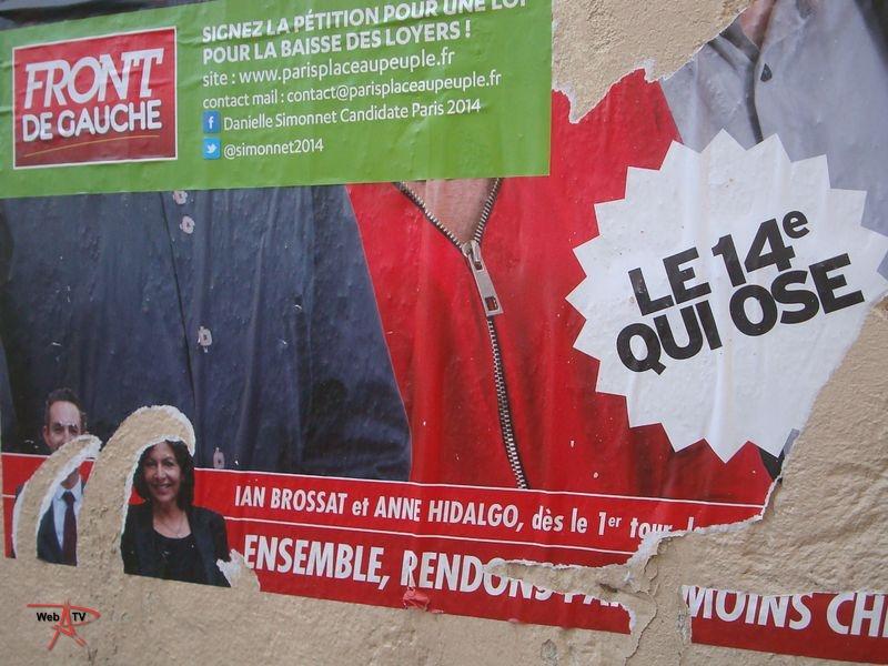 Affichage sauvage campagne électorale municipale 2014