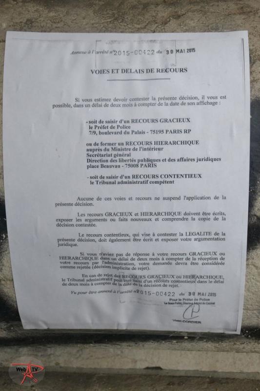Arrêté 2015-00422 portant évacuation d'un campement installé irrégulièrement sur la voie publique Annexe