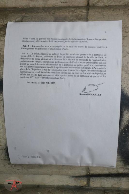 Arrêté 2015-00422 portant évacuation d'un campement installé irrégulièrement sur la voie publique Page 3