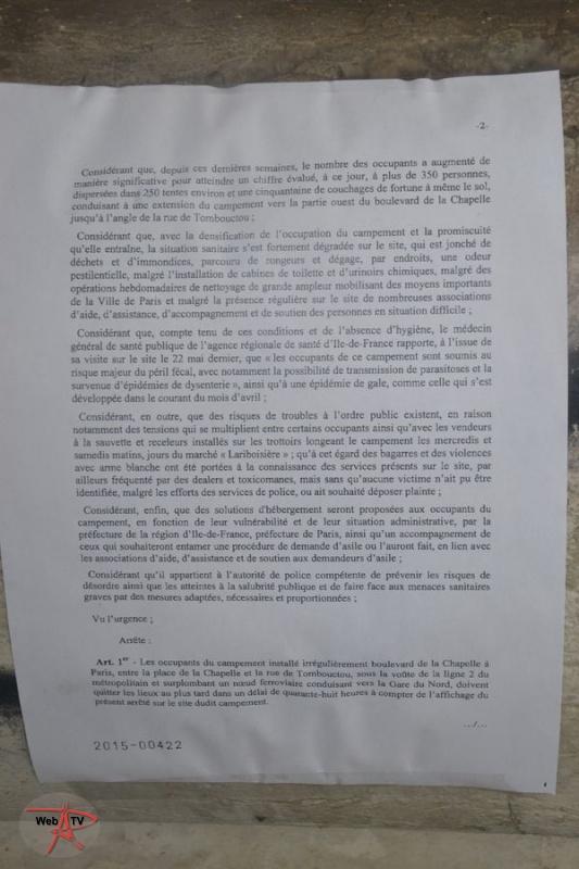 Arrêté 2015-00422 portant évacuation d'un campement installé irrégulièrement sur la voie publique Page 2
