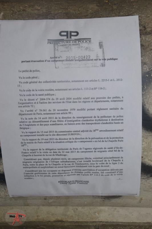 Arrêté 2015-00422 portant évacuation d'un campement installé irrégulièrement sur la voie publique Page 1
