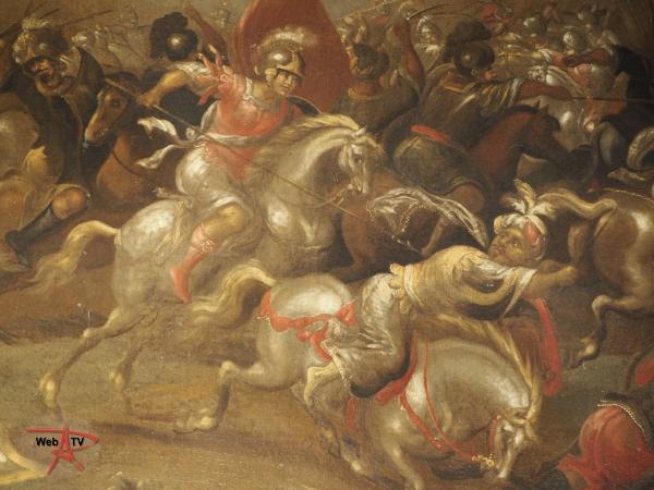 Lot 18 - Ecole flamande du XVIIe siècle - Bataille de cavalerie - détail 1© Etude SADDE Commissaires Priseurs à Dijon